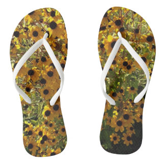 Black Eyed Susan Yellow Flowers Green FlipFlops Flip Flops