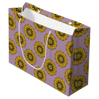 Black-eyed Susans 02.2, Floral mandala-style Large Gift Bag