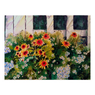 Black-eyed Susans Against White Picket Fence Poster