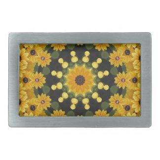 Black-eyed Susans,  Floral Mandala Belt Buckle