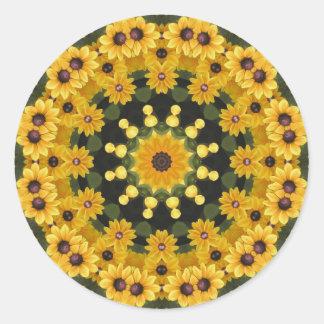 Black-eyed Susans,  Floral Mandala Classic Round Sticker