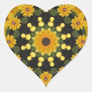 Black-eyed Susans,  Floral Mandala Heart Sticker