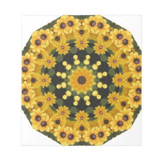 Black-eyed Susans,  Floral Mandala Notepad