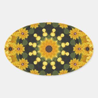 Black-eyed Susans,  Floral Mandala Oval Sticker