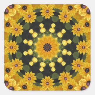 Black-eyed Susans,  Floral Mandala Square Sticker