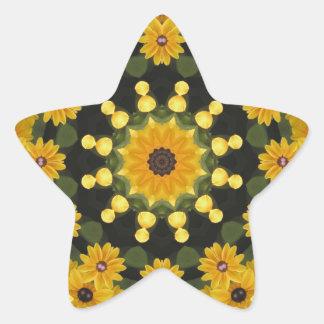 Black-eyed Susans,  Floral Mandala Star Sticker