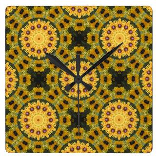 Black-eyed Susans, Floral mandala-style 02.2 Square Wall Clock