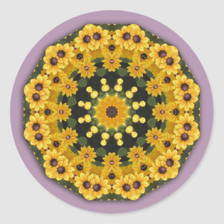 Black-eyed Susans, Floral mandala-style Classic Round Sticker