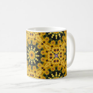Black-eyed Susans, Floral mandala-style Coffee Mug