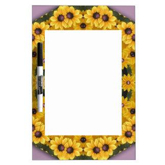 Black-eyed Susans, Floral mandala-style Dry Erase Board