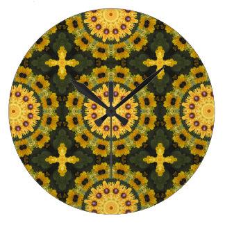 Black-eyed Susans, Floral mandala-style Large Clock