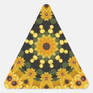 Black-eyed Susans,  Floral Mandala Triangle Sticker