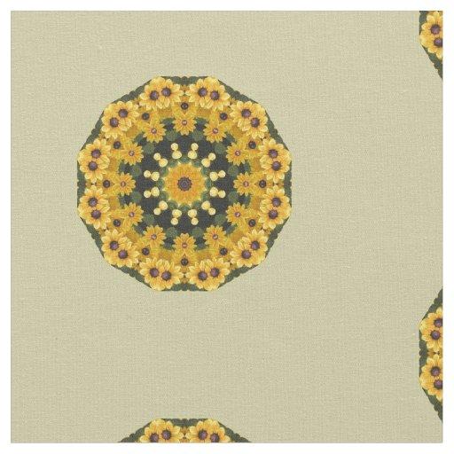 Black-eyed Susans, Flower mandala Fabric