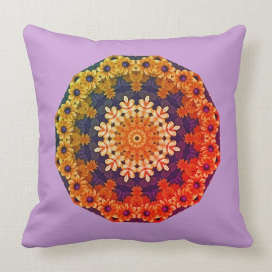 Black-eyed Susans Nature 2.0.F, Flower-Mandala Throw Pillow
