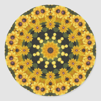 Black-eyed Susans Nature, Flower-Mandala Classic Round Sticker