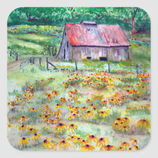 Black-Eyed Susans Wildflower Barn Watercolor Square Sticker