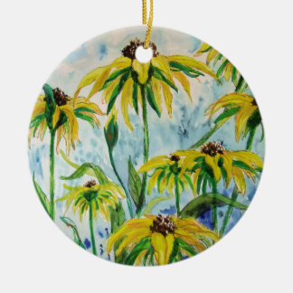 Black eyed suzans in Watercolor Ceramic Ornament