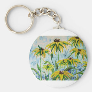 Black eyed suzans in Watercolor Keychain