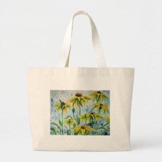 Black eyed suzans in Watercolor Large Tote Bag