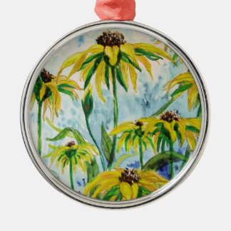 Black eyed suzans in Watercolor Metal Ornament