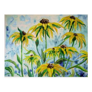 Black eyed suzans in Watercolor Postcard