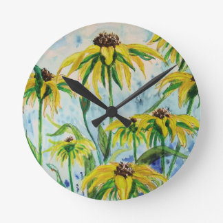 Black eyed suzans in Watercolor Round Clock