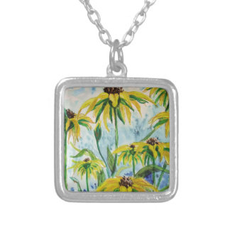 Black eyed suzans in Watercolor Silver Plated Necklace