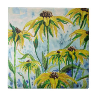 Black eyed suzans in Watercolor Tile
