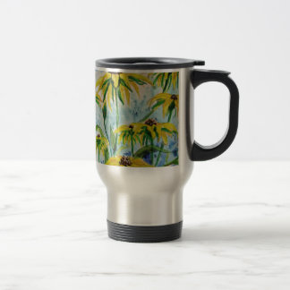 Black eyed suzans in Watercolor Travel Mug