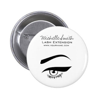 Black Eyeliner lash extension henna make up icon 2 Inch Round Button
