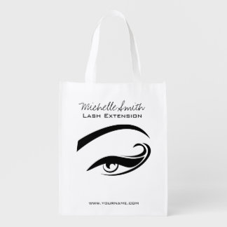 Black Eyeliner lash extension henna make up icon Reusable Grocery Bag