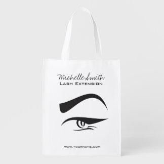 Black Eyeliner lash extension henna make up icon Reusable Grocery Bag