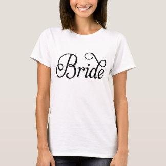Black Fancy Script Bride White T-Shirt
