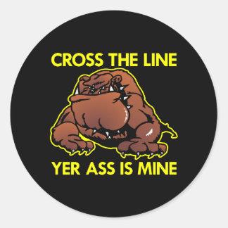 Black Fat Bulldog Cross Line Round Sticker