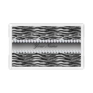 Black Faux Foil Zebra Stripes on Silver Acrylic Tray