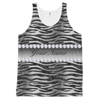 Black Faux Foil Zebra Stripes on Silver All-Over-Print Tank Top