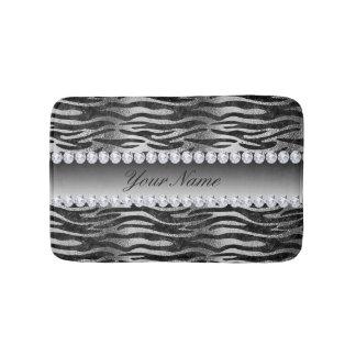 Black Faux Foil Zebra Stripes on Silver Bathroom Mat
