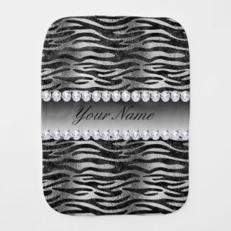 Black Faux Foil Zebra Stripes on Silver Burp Cloth