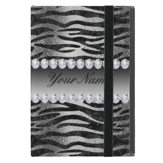 Black Faux Foil Zebra Stripes on Silver Case For iPad Mini