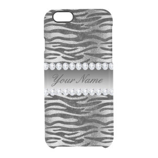 Black Faux Foil Zebra Stripes on Silver Clear iPhone 6/6S Case