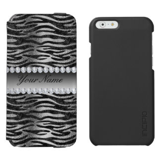Black Faux Foil Zebra Stripes on Silver Incipio Watson™ iPhone 6 Wallet Case