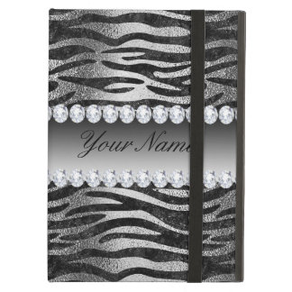 Black Faux Foil Zebra Stripes on Silver iPad Air Case