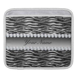 Black Faux Foil Zebra Stripes on Silver iPad Sleeve