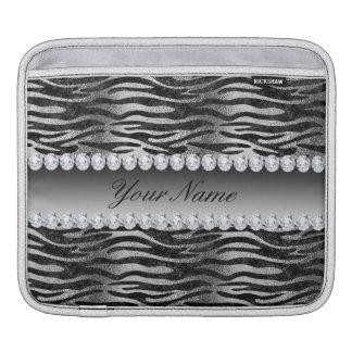 Black Faux Foil Zebra Stripes on Silver iPad Sleeve