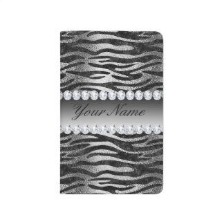 Black Faux Foil Zebra Stripes on Silver Journal