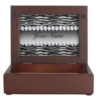 Black Faux Foil Zebra Stripes on Silver Keepsake Box
