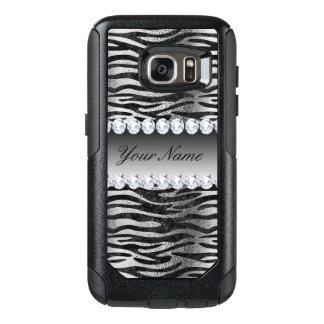 Black Faux Foil Zebra Stripes on Silver OtterBox Samsung Galaxy S7 Case