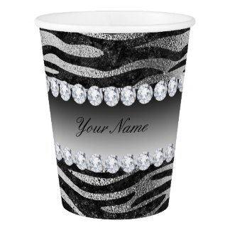Black Faux Foil Zebra Stripes on Silver Paper Cup