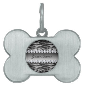 Black Faux Foil Zebra Stripes on Silver Pet ID Tag