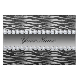Black Faux Foil Zebra Stripes on Silver Placemat
